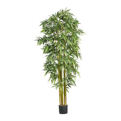 Nearly Natural - 7' Big Bamboo Silk Tree - Not for outdoor use. Lush foliage and tropical appeal. Natural trunks. Enhance any room or office space. Included Non Decorative Nursery Pot size: 7.5 in. W X 7 in. H45 in. W X 45 in. D X 7 ft. H (22.5lbs). Bring the lush foliage of the tropics indoors!  With thousands of luxurious leaves and standing a majestic seven feet tall; our Bamboo Tree is a dramatic replica of trees commonly grown in warmer climates.  This tree will compliment any decorating style in your home or office (group several for a dramatic appeal!)