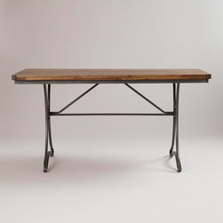 Jackson Rectangular Table With Metal Base - This is the perfect work table. I love the legs and the darker wood top.