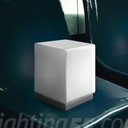 Itre - Cubi Zero Night Table Lamp - Cubi Zero night table lamp small version of the Cubi Zero table lamp for commodes and night tables. White satin glass with grey metal base.