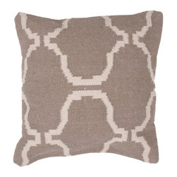 """Jaipur Rugs - Gray/Ivory color cotton alhambra pillow poly fill pillow 18""""x18"""" - Hand woven from 100% cotton the Cadiz pillow collection offers a range of open geometrics in bold color combinations. The collection coordinates with Jaipur Maroc and Urban bungalow flat weave rugs."""