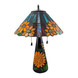 Limited Edition Stained Glass Sunflower Table Lamp 23 Inches Tall - Brighten up your day with this cheerful sunflower table lamp. The colorful leaded stained glass lamp comes with a numbered certificate and is a limited edition of 650.