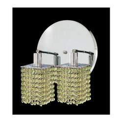 Elegant Lighting - Mini Peridot Crystal Sconce w 2 Lights in Chrome (Strass Swarovski) - Choose Crystal: Strass Swarovski. Bulbs not included. Crystal Color: Lt. Peridot (Light Green). Chrome finish. Number of Bulbs: 2. Bulb Type: GU10. Bulb Wattage: 55. Max Wattage: 110. Voltage: 110V-125V. Assembly required. Meets UL & ULC Standards: Yes. 9 in. D x 13.5 in. H (6lbs.)Description of Crystal trim:Royal Cut, a combination of high quality lead free machine cut and machine polished crystals & full-lead machined-cut crystals..SPECTRA Swarovski, this breed of crystal offers maximum optical quality and radiance. Machined cut and polished, a Swarovski technician¢s strict production demands are applied to this lead free, high quality crystal.Strass Swarovski is an exercise in technical perfection, Swarovski ELEMENTS crystal meets all standards of perfection. It is original, flawless and brilliant, possessing lead oxide in excess of 39%. Made in Austria, each facet is perfectly cut and polished by machine to maintain optical purity and consistency. An invisible coating is applied at the end of the process to make the crystal easier to clean. While available in clear it can be specially ordered in a variety of colors.Not all trims are available on all models.