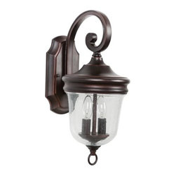 Jeremiah Lighting - Jeremiah Lighting Z4904 2 Light Ambient Light Outdoor Wall Sconce Frede - Jeremiah Lighting Z4904 Fredericksburg 2 Light Ambient Light Outdoor Wall SconceInspired by the elegant European styles of the past, this outdoor wall sconce from the Fredericksburg collection will bring a touch of Old World charm to any lighting situation.The softly curled arms and clear seedy glass of the Fredericksburg collection will bring an Old World charm to any lighting situation.Jeremiah Lighting Z4904 Features: