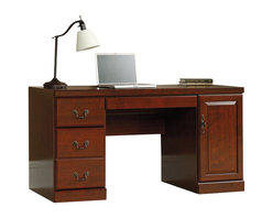Sauder - Sauder Heritage Hill Computer Credenza - Sauder - Computer Desks - 404944 - Sauder Heritage Hill collection computer credenza is constructed of laminated engineered wood with a durable Classic Cherry laminate finish. Computer credenza features a box drawer and a letter size file drawer in the left drawer pedestal. Right door pedestal houses a vertical CPU compartment with an adjustable shelf. Pullout laptop/keyboard drawer in center has full extension slides and a builtin power strip with three outlets. Desktop grommet allows easy routing of cords. Ships ready to assemble.