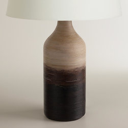 World Market - Ombre Wood Table Lamp Base - Handpainted in India exclusively for World Market, our Ombre Wood Table Lamp Base features graduated earth tones against a ribbed texture. Inspired by the colors you'd encounter at a woodland retreat, this vase-like mango wood lamp brings the beauty of the natural world indoors. Explore our wide selection of table lamp shades to complete the look.