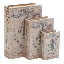Benzara - Fleur De Lis Wood Canvas Book Box - Set of 3 - Wood Canvas Book Box S/3 is an excellent anytime low priced decor upgrade option that is high in modern age decor fashion. It is beautifully designed.
