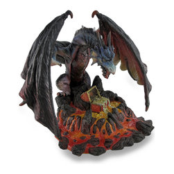 Zeckos - Menacing Dragon Guarding Lava Treasure Sculptural Statue - An open chest floats as the treasure inside spills out into a pool of oozing lava while a menacing multi-hued dragon stands guard with his expansive wings curled tight around in protection. Cast in resin and expertly hand-painted to enhance all the amazing details; from the dragon's face full of warning to the glistening gold treasure and fiery lava pouring down craggy rocks, this 7.25 inch (18 cm) high, 8 inch (20 cm) wide, 6.25 inch (16 cm) deep sculptural statue is a must-have addition for your fantasy art collection sure to command attention and be admired, and makes a great gift for any dragon lover in your life
