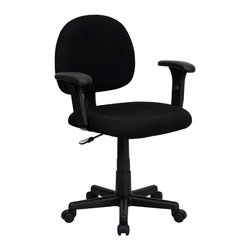 Flash Furniture - Flash Furniture Mid-Back Ergonomic Black Fabric Task Chair with Adjustable Arms - This value priced task chair will accommodate your essential needs for your home or office. Ergonomically correct chair that is both comfortable and well priced will satisfy the needs of most computer users.