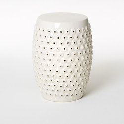 Bubble Ceramic Side Table - Inspired by Chinese garden stools, this sweet perforated ceramic stool by West Elm makes a smart end table, nightstand, cocktail table or extra seating in a pinch.