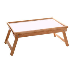 Winsome Wood - Wooden Bed Tray w Flip Top - Our popular wooden bed tray features a flip top lid to accommodate work, play or breakfast in bed! Combining attractive styling, rounded edges and an appealing finish in natural wood with white accents, this cleverly designed tray will enhance any room setting. * White/Natural Wood. 21.5 in. L x 14 in. W x 9.1 in. H