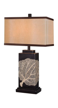 Kenroy Home - Kenroy 32296ORB Sea Fan Table Lamp - Derived from nature 's majesty,  the Sea Fan Lamp's delicate creamy pattern on ORB base, wraps around to offer its chic view to all sides. Substantial in size at 30' high, Sea Fan avoids a bulky appearance by the slim side angle of the rectangular frame.  Sized for Living Aras and equally at home in Classic or Casual environments,  Sea Fan brings its welcoming beauty to any decor.