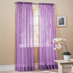 "2-Piece Solid Lavender Purple Sheer Window Curtains/Drape/Panels/Treatment 60""w - 2 panels included. Each panel is 60""w X 84"""