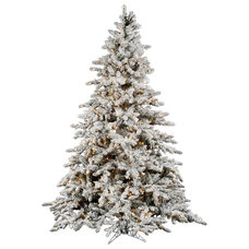 Flocked Utica 10' Green Fir Artificial Christmas Tree with 1450 Dura-Lit Clear L