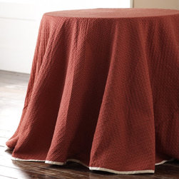Margarite Round Tablecloth - Add a special touch to your next table setting with a tablecloth that is stunning in every way.  This beautiful tablecloth has a classic diamond pattern sewn in raspberry and wheat and for a finishing touch, it is edged in ivory grosgrain ribbon.  This would be a great tablecloth for Valentine's Day, 4th of July or Christmas.  It would also work great for a fall tablescape.