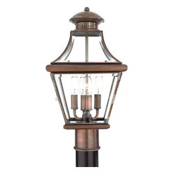 Quoizel Lighting - Quoizel CAR9011AC Carleton 4 Light Post Lights & Accessories, Aged Copper - Long Description: The historical design of the Carleton outdoor fixture will bring a handsome colonial appeal to your home. The antique style solid copper, square tapered frame with a curved top eloquently displays the clear beveled glass, adding an elegant touch to the light.