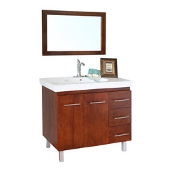 Bellaterra Home - 39 in Single sink vanity-wood-walnut-right side drawers - Satisfy your home design needs with this medium walnut finished vanity offering a contemporary smart design with plenty of storage space and traditional features. The modern bathroom vanity is constructed of solid wood. Features include an oversized white ceramic sink and counter-top and modern chrome accents. The style and beauty of the vanity is an exquisite design for a bathroom.