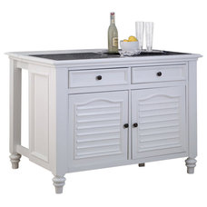 Transitional Kitchen Islands And Kitchen Carts Home Styles Bermuda Kitchen Island and 2 Stools in White