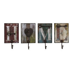 "IMAX - Casa Wall Hooks - Set of 4 - Home is where you can hang your hat on these heartwarming, distressed, painted wood, wall hooks, set of four Item Dimensions: (10.5""h x 6""w x 3"")"