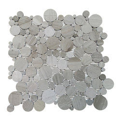"""GL Stone - Wooden Gey Retro Circle Mosaic Tile, ( 1 Carton / 11 Sheets ) - Wooden Grey Retro Circles are random round pieces mounted on 12.0""""X 12.0"""" sturdy mesh tile sheet. The color of this mosaic tile is natural beauty with  grey vein. This retro circles tile is suitable for installation on walls and floors. And this is the perfect choice for bathroom floor, shower surround,spa, pool, etc."""