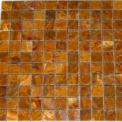 Multi Brown Gold Polished Pattern Mesh-Mounted Onyx Tiles - 1 in. x 1 in. Multi Brown Gold Mesh-Mounted Square Pattern Onyx Mosaic Tile is a great way to enhance your decor with a traditional aesthetic touch. This polished mosaic tile is constructed from durable, impervious onyx material, comes in a smooth, unglazed finish and is suitable for installation on floors, walls and countertops in commercial and residential spaces such as bathrooms and kitchens.