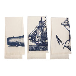 "Thomas Paul - Nautical Seafarer 3-Piece Hand Towel Set - The Thomas Paul Nautical Seafarer 3-piece hand towel set features a hand screened print on 100% cotton. The bath mat features our favorite theme: nautical imagery. The designs feature Moby Whale, a sailing ship. and an anchor. Each towel measures 30"" x 15"". The blue prints add a fun nautical accent to your bathroom.   About the Artist: After graduating from NYC's famed FIT, Thomas Paul started his career as a colorist and designer at a silk mill. Eventually, he leveraged his knowledge of silk materials & print to launch a neckwear line of his own. Over time, Paul loved the idea of applying menswear print and design into a collection of home decor, which is what we see in his goods today. His background has embedded in him a passion for quality production techniques. Even as his brand grows, he continues to ensure all of his prints are hand screened - a slow, detailed process that results in each piece being a unique piece of artwork. Paul also pushes the envelope in terms of bold prints and hand ground materials.       ""My vision for the thomaspaul brand has always been about combining classic design motifs from different periods in textile design. Incorporating anything from an 18th century Damask pattern to a camouflage print. The unifying thread between so many different styles is to change the designs so they are updated for today. For me this means changing the scale, so they are always bold, and reducing down the colors and details, so most designs are reduced to two or three colors and become very flat, bold prints. I am always looking to vintage fabrics and motifs for inspiration and new ideas, but always try to update these to look good for today."" - Thomas Paul   Product Details:"