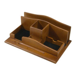 Proman Products - Proman Products Renaissance Desktop Organizer in Light Walnut - Renaissance Desktop Organizer,  elegant design with solid wood material. Light walnut finish.
