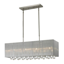 Four Light Brushed Nickel Nylon Silver Shade Island Light - The Aura family of linear shaded fixtures feature a stunning double line of multi faceted pyramid crystal. This fixture features a silver string shade. In all cases the fixtures are finished with brushed nickel.