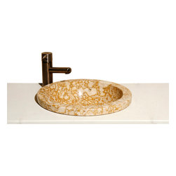 The Allstone Group - VUMR Sandstorm Polished Deck mount sink - Natural stone strikes a balance between beauty and function. Each design is hand-hewn from 100% natural stone.  Allstone deck mounted sinks can be installed on top, in or below your counter top. Each sink is hand crafted to give your bathroom a touch of class to be admired for years to come.