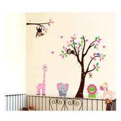 KidsPlay - Animal Tree Wall Decal - Animal Tree with Lion, monkey, elephant, owl, zebra, giraffe and birds wall decal sticker. Size : 2 sheets of 2' x 3'. * Free to move stickers.