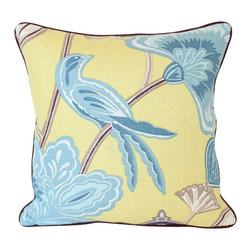 The Pillow Studio - Lemon Zest Yellow Linen Pillow Cover with Blue Birds, Brown Pagoda and Brown - This is such a fun pillow! The yellow is so bold and I love the contrast of it and the blue. The chocolate brown piping provide the perfect finishing touch!