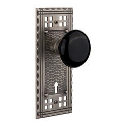 Nostalgic Warehouse - Nostalgic Craftsman Plate with Black Porcelain Knob and Keyhole, Antique Pewter - Inspired by the American Arts & Crafts movement of the early 1900s, the rugged design and hand-hammered details of the Craftsman Long Plate in antique pewter emphasizes handwork over mass production. Add our timeless, kiln-fired Black Porcelain Knob to create a sophisticated, yet classic look. All Nostalgic Warehouse knobs are mounted on a solid (not plated) forged brass base for durability and beauty.
