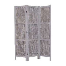 TERRANCE SCREEN - Add sophistication and structure to your decor when you use this three panel gray wooden mat screen to divide your space. Elegantly framed in Paulownia wood that is finished on both sides, this versatile screen can be utilized either indoors or out.