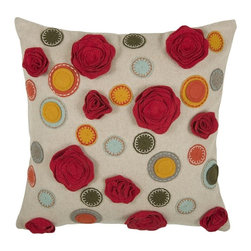 Silver Nest - Fiesta Down Pillow- Set of 2 - Felt Fabric. Appliqué and Embroidered Details. Pillow Cover with Hidden Zipper. Includes Down Pillow inserts. Set of 2.