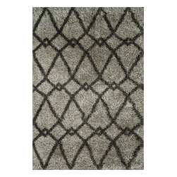 """Loloi Rugs - Loloi Rugs Cosma Collection - Grey / Charcoal, 5'-2"""" x 7'-7"""" - A room with a point of view; that's what you get with the Cosma Collection. Power-loomed in Egypt of polypropylene and polyester, Cosma's shaggy stripes, diamond and other intricate patterns come alive with energetic movement, and buzz with vivid colors. Your home will, too."""