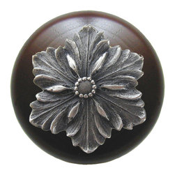 """Notting Hill - Notting Hill Opulent Flower/Dark Walnut Wood Knob - Antique Pewter - Notting Hill Decorative Hardware creates distinctive, high-end decorative cabinet hardware. Our cabinet knobs and handles are hand-cast of solid fine pewter and bronze with a variety of finishes. Notting Hill's decorative kitchen hardware features classic designs with exceptional detail and craftsmanship. Our collections offer decorative knobs, pulls, bin pulls, hinge plates, cabinet backplates, and appliance pulls. Dimensions: 1-1/2"""" diameter"""