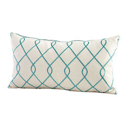 Cyan Design - Chain Link Pillow - Chain link pillow - turquoise/white