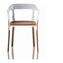 Magis - Steelwood Dining Arm Chair - Forming a simple yet comfortable chair, the steelwood chair by Ronan & Erwan Bouroullec is a unique combination of two traditional materials: steel and wood. This chair has aimed to become more delicate through time, acquiring a patina over uses and years. Its silhouette makes it an easy chair and is adaptable to any place from a caf terrace to a cozy dinner table. The final curvature the Bouroullec brothers were striving for took almost ten successive stamping stages. Features: -Seat and legs made from solid beech.-Suitable for indoor or outdoor use.-Year of production: 2008.-Frame in painted steel plate.-Arms: Yes.-Rocker: No.-Distressed: No.-Collection: Steelwood Family.-Product Care: Using a soft rag, either dry or wet. When needed, use ph-balance soap diluted in water. Do not use abrasive sponges as they may leave scratches. Immediately dry after washing with a soft rag or chamois leather. Never leave water or other liquids to sit on metal part. Avoid contact with all acidic. Avoid exposure to sunlight as this may permanently discolour the surface.-Country of Manufacture: Italy.Dimensions: -Overall dimensions: 32.3'' H x 16.1'' W x 21.7'' D.-Seat height: 18.3''.-Arm Height: 27.5''.-Overall Product Weight: 22 lbs.