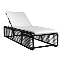 Mamagreen - Mudu Sunlounger - The Mudu Dining Armchair combines highly weather resistant powder coated aluminum and backrest is adjustable. Wide wicker boards flank the sides and make an excellent place to set your drink. Available in a variety of sunbrella cushions and wicker.