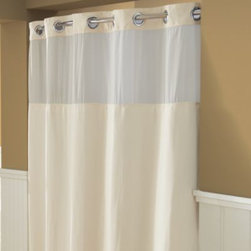 """Hookless - Hookless Waffle 71-Inch x 74-Inch Fabric Shower Curtain and Liner Set in Cream - This innovative shower curtain and liner offer no hassles thanks to their """"split ring"""" hookless design that lets you hang them in less than 10 seconds."""