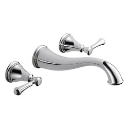 "Delta - Delta 3597LF-WL Cassidy Two-Handle Wall-Mounted Lavatory Faucet (Chrome) - Delta 3597LF-WL Cassidy two handle Wall-Mounted Lavatory Faucet (Chrome). The Delta 3597LF-WL is part of the Cassidy Series. This widespread wall-mounted lavatory faucet features two lever handles for precise manipulation of your water volume and temperature, an 8"" centered 3-hole installation, and a solid brass fabricated body for a long-lasting durability. It comes with a 9-9/16"" long spout, 1/4-turn handle stops, and 1/2""-14 NPT female threaded inlets. This model comes in a bright, Chrome finish."