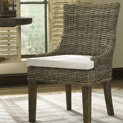 ALFRESCO DINING CHAIR - KUBU SET OF 2 - These lovely dining chairs have a sturdy wood frame construction and are hand woven with Kubu grey rattan, which has now become our most popular weave.   Seat cushion is included as shown.