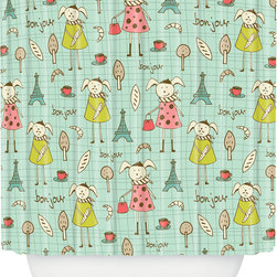DENY Designs - DENY Designs Heather Dutton Bonjour Lapin Shower Curtain - Bath time starting to feel a little blah? Give your tub or shower some youthful style with the Heather Dutton Bonjour Lapin Shower Curtain from DENY Designs. Made from machine-washable polyester, this shower curtain features a French-inspired print with rabbits, cups of coffee, the Eiffel Tower, baguettes, and croissants. Add it to a child's bathroom for the perfect touch of whimsy.Artist: Heather DuttonA portion of proceeds go directly to the artistsButtonhole openings; shower rings are not includedMade in the USA