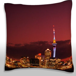 Custom Photo Factory - New Zealand, Auckland  Polyester Velour Throw Pillow - New Zealand, Auckland, illuminated cityscape at night  18 x 18 Inches  Made in Los Angeles, CA, Set includes: One (1) pillow. Pattern: Full color dye sublimation art print. Cover closure: Concealed zipper. Cover materials: 100-percent polyester velour. Fill materials: Non-allergenic 100-percent polyester. Pillow shape: Square. Dimensions: 18.45 inches wide x 18.45 inches long. Care instructions: Machine washable
