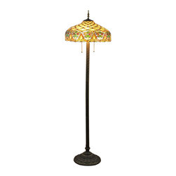Brown Bedroom Tiffany Dragonfly Floor Lamp - The best Tiffany-style lamps are the ones that bring beauty, warmth and antique style into your space. This eye-catching Tiffany style table lamp features an expertly handcrafted shade made of pieces of stained glass in a versatile hues. A sturdy coordinating base makes a perfect complement to the shade.