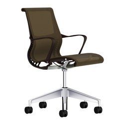 Herman Miller - Setu Chair - This inventive office chair features an airy design and gorgeous scrim-like fabric. The seating area also has a distinctively curved front edge, keeping the backs of your knees nice and nestled.