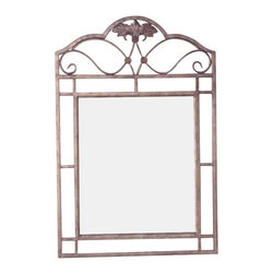 Hillsdale Furniture - Hillsdale Bordeaux Rectangular Console Mirror in Bronze Pewter - Splendid wrought iron design, the Bordeaux collection features elegant scroll work, with beautiful decorative leaf and medallion casting accents. Bakers rack has 1 wood shelf and 3 metal shelves for valuable storage or display space. Dining table has interesting center ornamentation and tempered glass table top. Chairs and bar stools and bench have durable, beige fabric seats. Finished in a beautiful pewter powder coat base finish with bronze high-lights. A lovely addition to any kitchen, family room, dining room or den.
