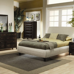 Phoenix Bedroom Set (Bed, Nightstand, Dresser, Mirror and Chest) - This Bedroom Set includes Queen Size Bed, one Night stand, Dresser, Mirror and Chest. A high slightly curved headboard and a low side of bed are covered in a lovely textural tan fabric.