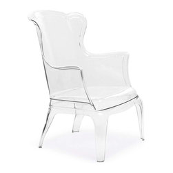 Zuo Modern - Zuo Modern Vision Chair Transparent - This solid polycarbonate chair can be a modern statement piece indoors or outdoors. The fabric cushion is indoors only.