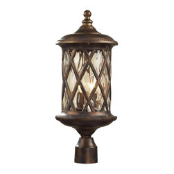 "Elk - Country - Cottage Barrington Gate 22"" High Outdoor Post Light - This handsome outdoor post light comes from the Elk Lighting Barrington Gate collection. It features hammered clear glass panels and a hazelnut bronze finish for a rich visual appeal. Pole not included. Takes two 60 watt candelabra bulbs (not included). 22"" high. 9"" wide.  Hazelnut bronze finish.  Pole not included.  Takes two 60 watt candelabra bulbs (not included).   22"" high.   9"" wide."