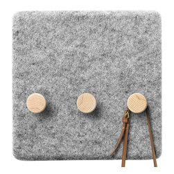 MENU - Felt Panel Coat Hanger - This is a really modern approach to a classic home essential — the coat hanger. You could easily upgrade a hallway or entryway with a simple felt panel and hang keys, coats or bags from it. What a great multifunctional piece for the home.